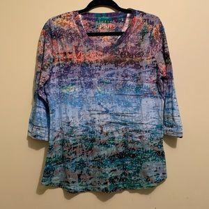 FDJ Colorful Boho/Hippie 3/4 Sleeve Shirt | Large